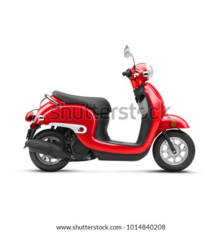 red scooter isolated on white background side view of vintage motor scooter electric retro