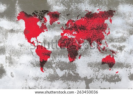 red scratch globe on bright concrete wall with fungi dot pattern - stock photo