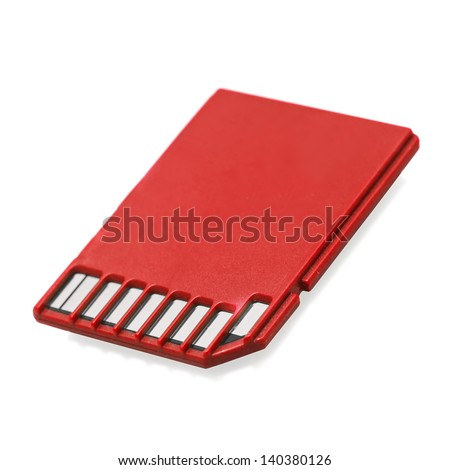 Red SD memory card isolated on white - stock photo
