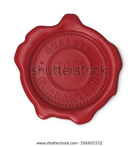 Red seal of approval with Quality Guaranteed text on white background - stock photo
