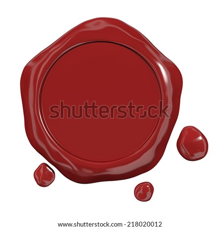 Red seal wax - stock photo