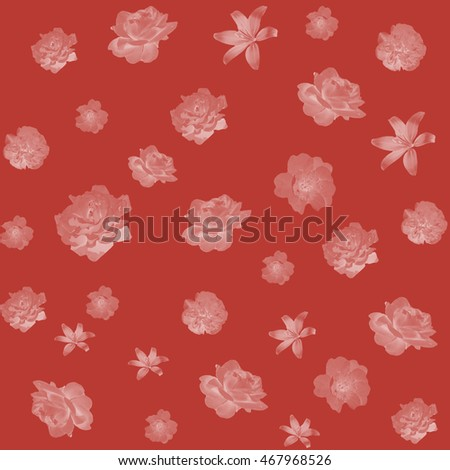 Red seamless background with flowers