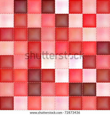 Red seamless checkered textile texture - stock photo