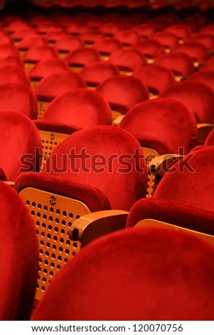 red seats in a theatre - stock photo