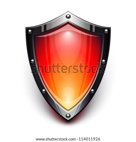 Red security shield - stock photo