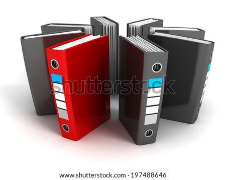 red selected different file ring binder. business concept 3d render illustration - stock photo