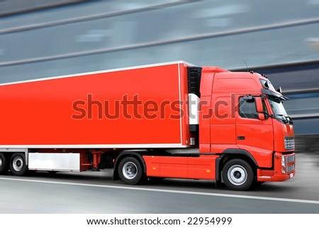 red semi truck - stock photo