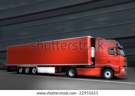 red semi truck in the night - stock photo