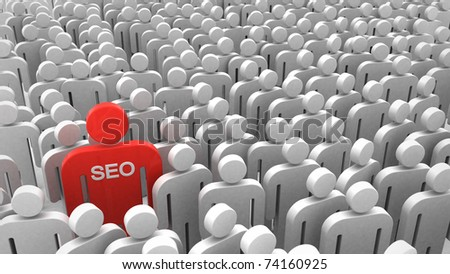 Red SEO man in the crowd of people - stock photo