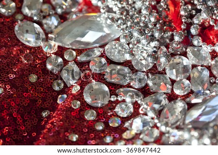 red sequins textile background - stock photo