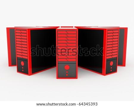 Red servers - stock photo