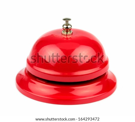 Red service bell on white background. - stock photo