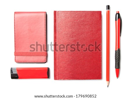 Red set of stationery isolated on white background - stock photo