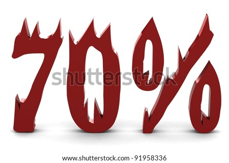 Red seventy percent - stock photo