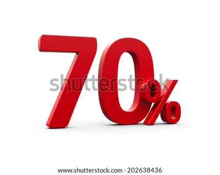Red seventy percent sign isolated on white background, three-dimensional rendering