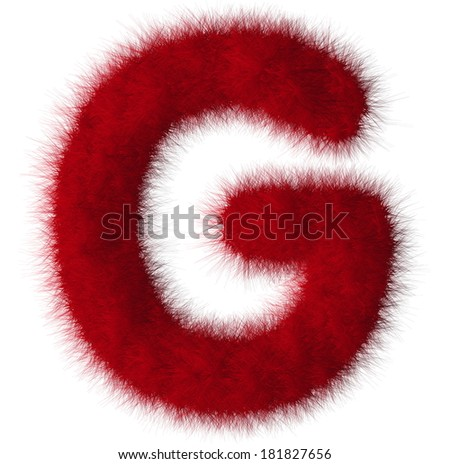 Red shag G letter isolated on white background - stock photo