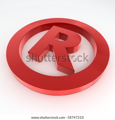 red shiny and glossy registered trademark sign laying on a white ground - stock photo