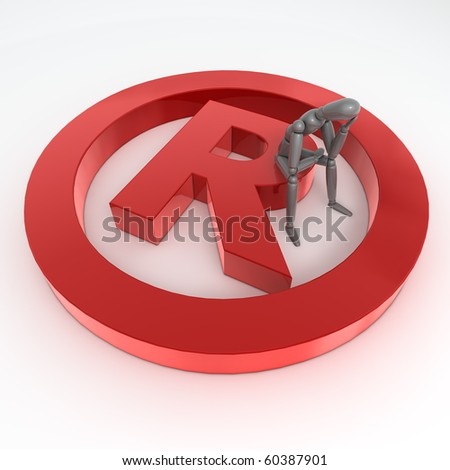 red shiny and glossy registered trademark sign laying on a white ground - a person in grey is sitting on it thinking and wondering - stock photo