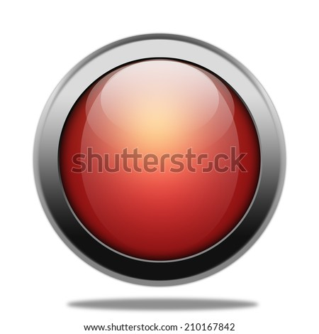 Red shiny button with metallic elements - stock photo