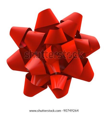 Red, shiny Christmas ribbon isolated on white background. - stock photo