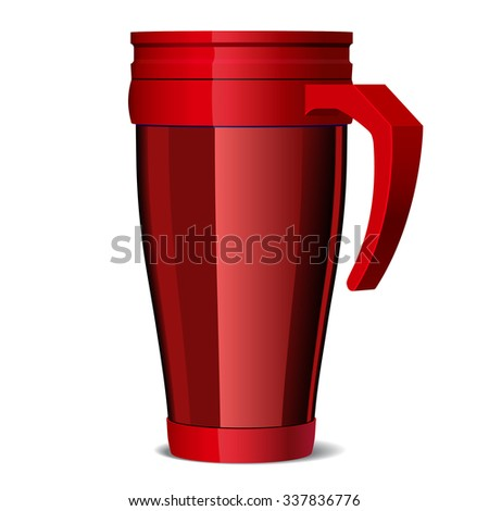 Red Shiny Metal travel thermo-cup - stock photo