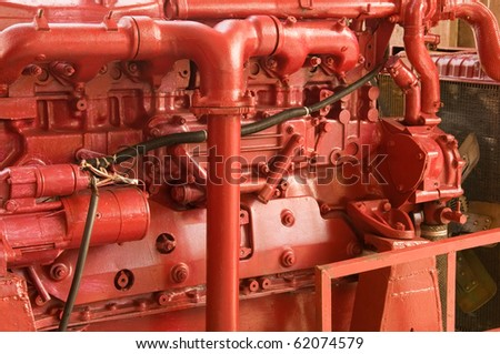 Red ship engine , detail. - stock photo