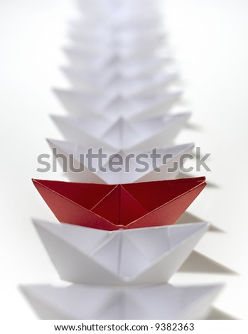 red ship in queue - stock photo