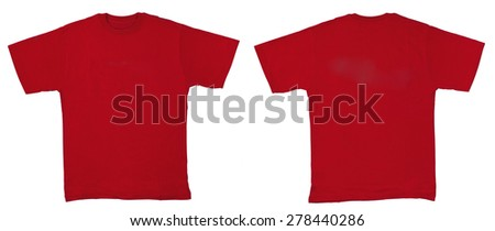 Red shirt isolated on white - stock photo