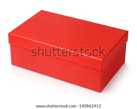 Red shoe box isolated on white with clipping path - stock photo