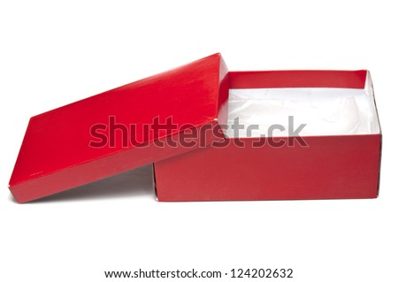 Red shoes box on white background - stock photo
