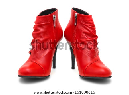 Red shoes isolated on white background - stock photo