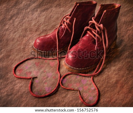 Red shoes with Lovely Heart. - stock photo