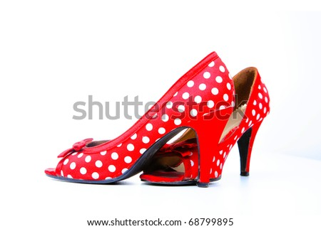 Red shoes with white dots - stock photo