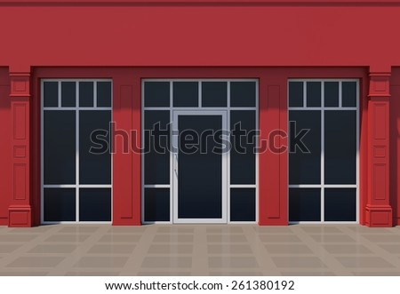 Red shopfront with large windows. Red store facade. - stock photo