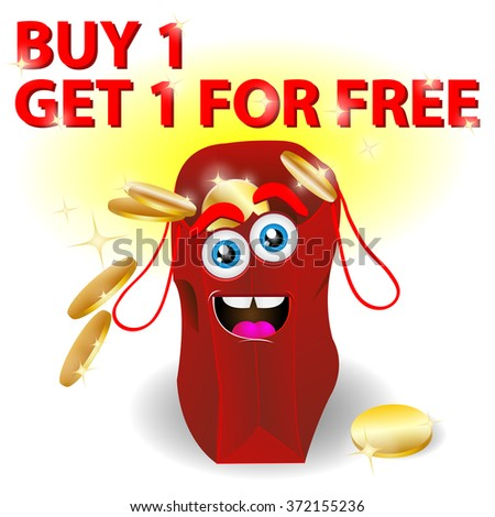 red shopping bag - buy 1 get 1 for free - stock photo