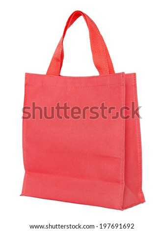 red shopping bag isolated on white background with clipping path - stock photo