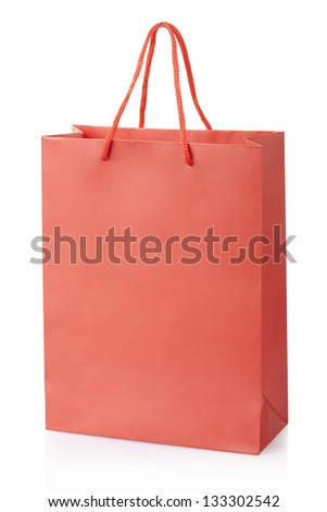 Red shopping bag isolated on white, clipping path included - stock photo