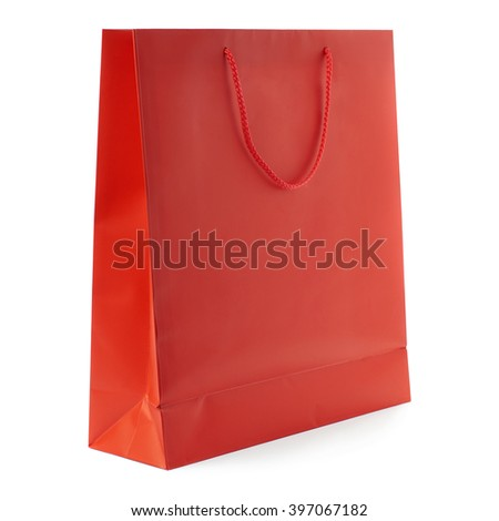 Red Shopping bag isolated over the white background