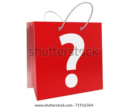 red shopping bag with big white question mark isolated over white - stock photo
