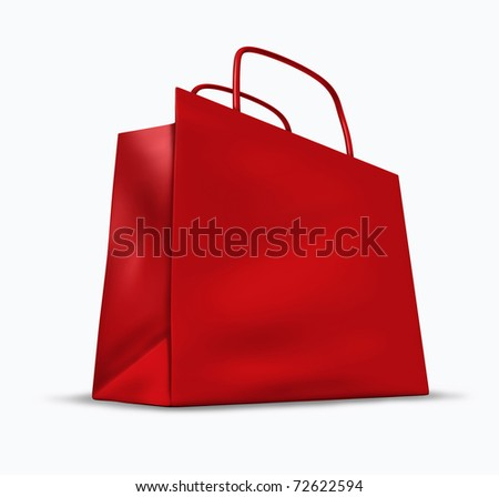 Red shopping bag with blank packaging representing the concept of retail consumers and shoppers looking for bargains and low prices at the mall department stores. - stock photo