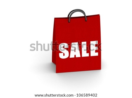 Red shopping bag with sale word - stock photo