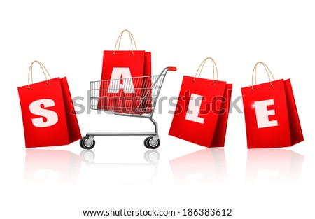 Red shopping bags with sale. Concept of discount. Raster version - stock photo