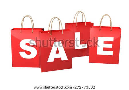 Red  shopping bags with the inscription Sale. Isolated on white background