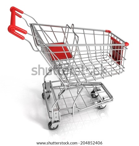 Red shopping cart, isolated on white background - stock photo