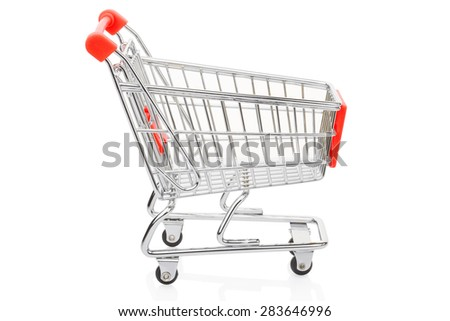 Red shopping supermarket cart isolated on white, clipping path included