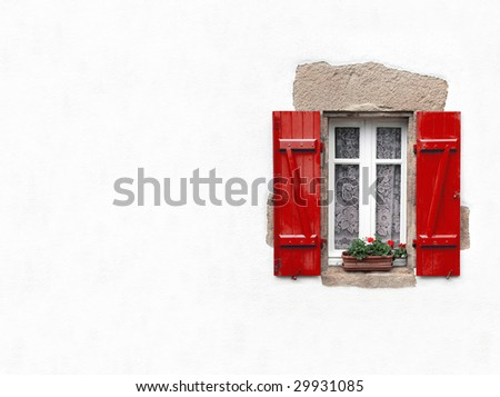 Red shuttered window on white stucco wall with geraniums in window box with copy space - stock photo