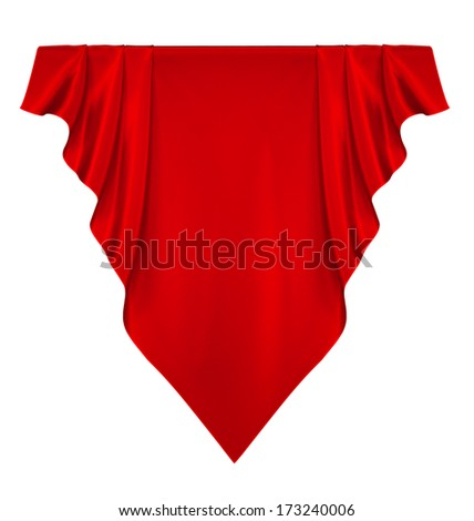 Red silk banner - stock photo