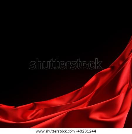 Red Silk Border.Over Black - stock photo
