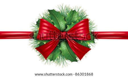 Red silk bow with pine border and circular ornamental holiday decoration for Christmas festive winter celebration on a white background. - stock photo