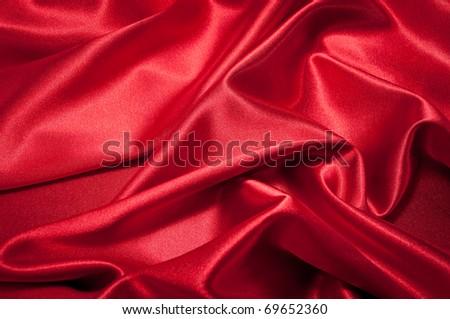 Red Silk closeup - stock photo